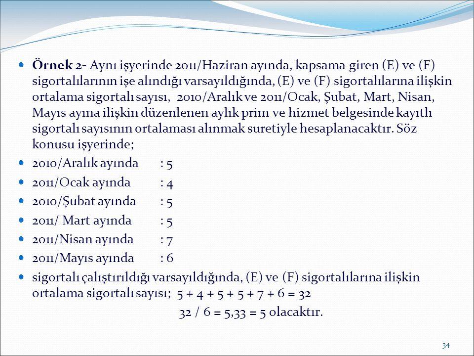 34  Örnek 2- Aynı işyerinde 2011/Haziran ayında, kapsama giren (E) ve (F) sigortalılarının işe alındığı varsayıldığında, (E) ve (F) sigortalılarına i