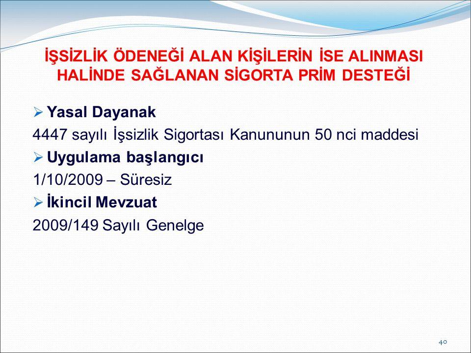 Yasal Dayanak 4447 sayılı İşsizlik Sigortası Kanununun 50 nci maddesi  Uygulama başlangıcı 1/10/2009 – Süresiz  İkincil Mevzuat 2009/149 Sayılı Ge
