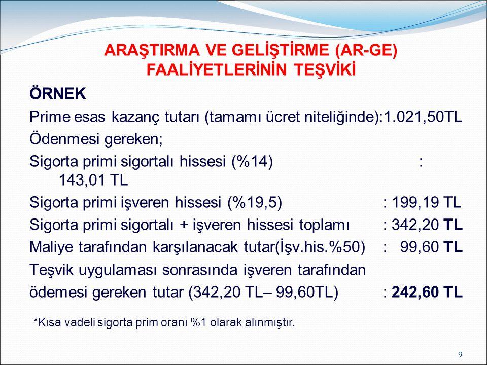 ÖRNEK Prime esas kazanç tutarı (tamamı ücret niteliğinde):1.021,50TL Ödenmesi gereken; Sigorta primi sigortalı hissesi (%14): 143,01 TL Sigorta primi