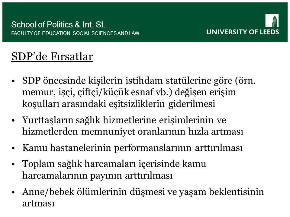 •SDP öncesinde kişilerin istihdam statülerine göre (örn.