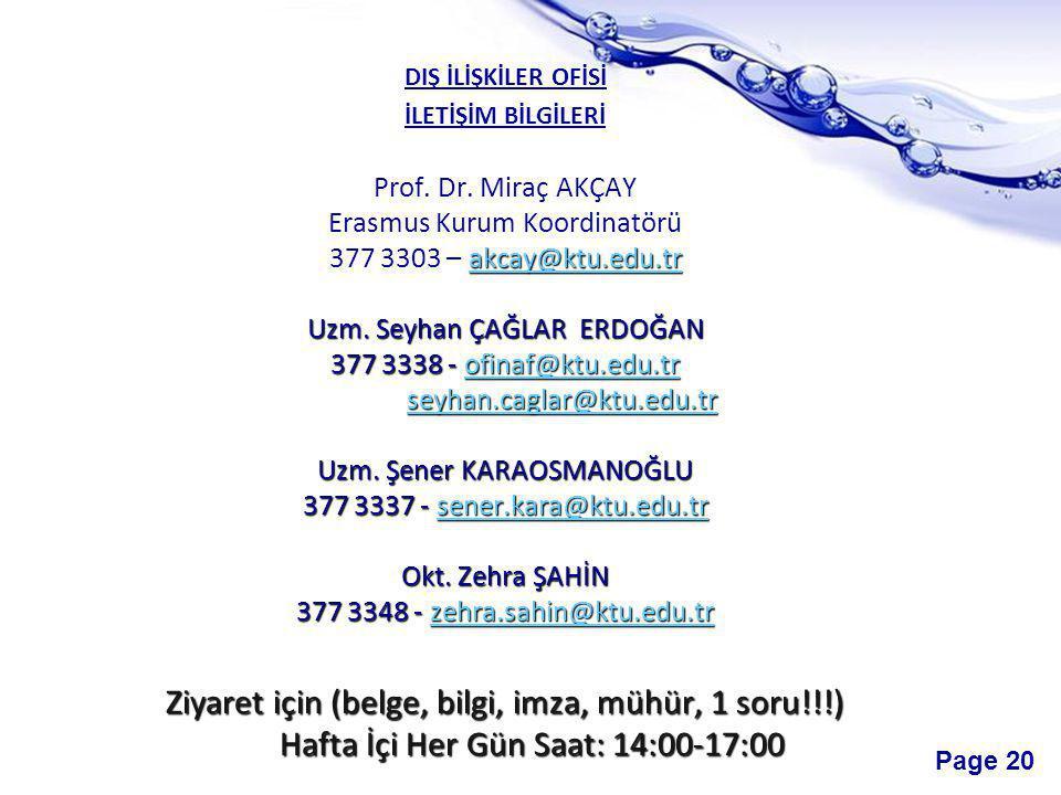 Page 20 DIŞ İLİŞKİLER OFİSİ İLETİŞİM BİLGİLERİ Prof.