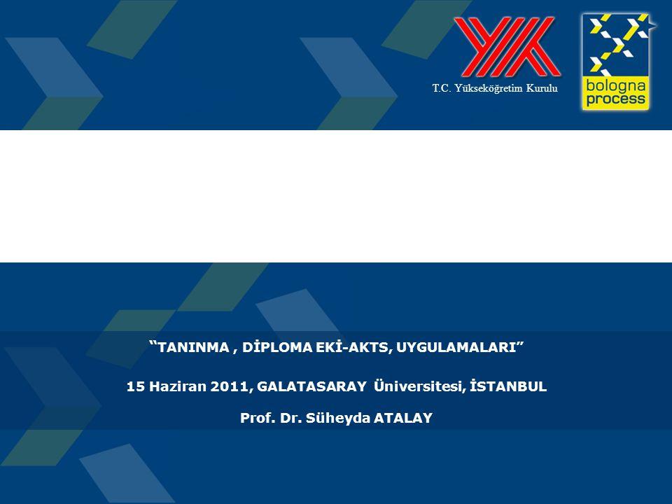 SONUÇ  Türkiye Yüksek Öğretim Yeterlilikleri, Temel Alan Yeterlilikleri, Program Yeterlilikleri ve Öğrenme Kazanımları'na dayalı etkin ve verimli tanıma prosedürlerinin geliştirilmesi gerekmektedir.
