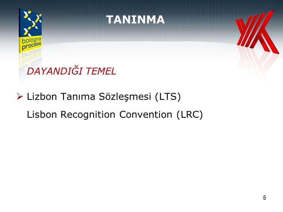 5 DAYANDIĞI TEMEL  Lizbon Tanıma Sözleşmesi (LTS) Lisbon Recognition Convention (LRC) TANINMA