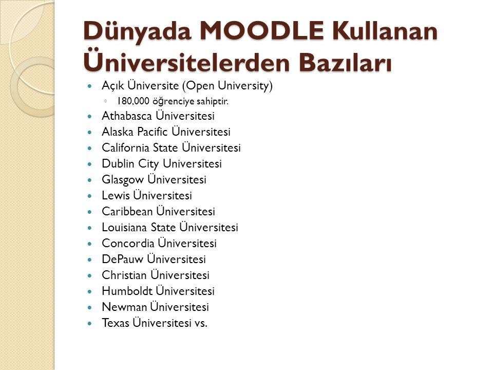 Dünyada MOODLE Kullanan Üniversitelerden Bazıları  Açık Üniversite (Open University) ◦ 180,000 ö ğ renciye sahiptir.  Athabasca Üniversitesi  Alask