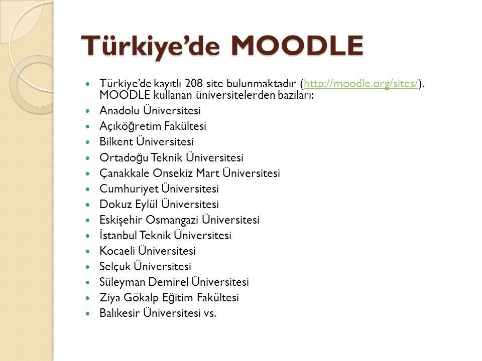 Türkiye'de MOODLE  Türkiye'de kayıtlı 208 site bulunmaktadır (http://moodle.org/sites/). MOODLE kullanan üniversitelerden bazıları:http://moodle.org/