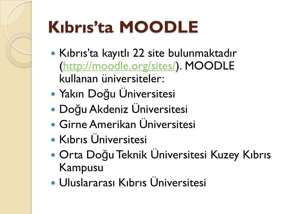 Kıbrıs'ta MOODLE  Kıbrıs'ta kayıtlı 22 site bulunmaktadır (http://moodle.org/sites/). MOODLE kullanan üniversiteler:http://moodle.org/sites/  Yakın
