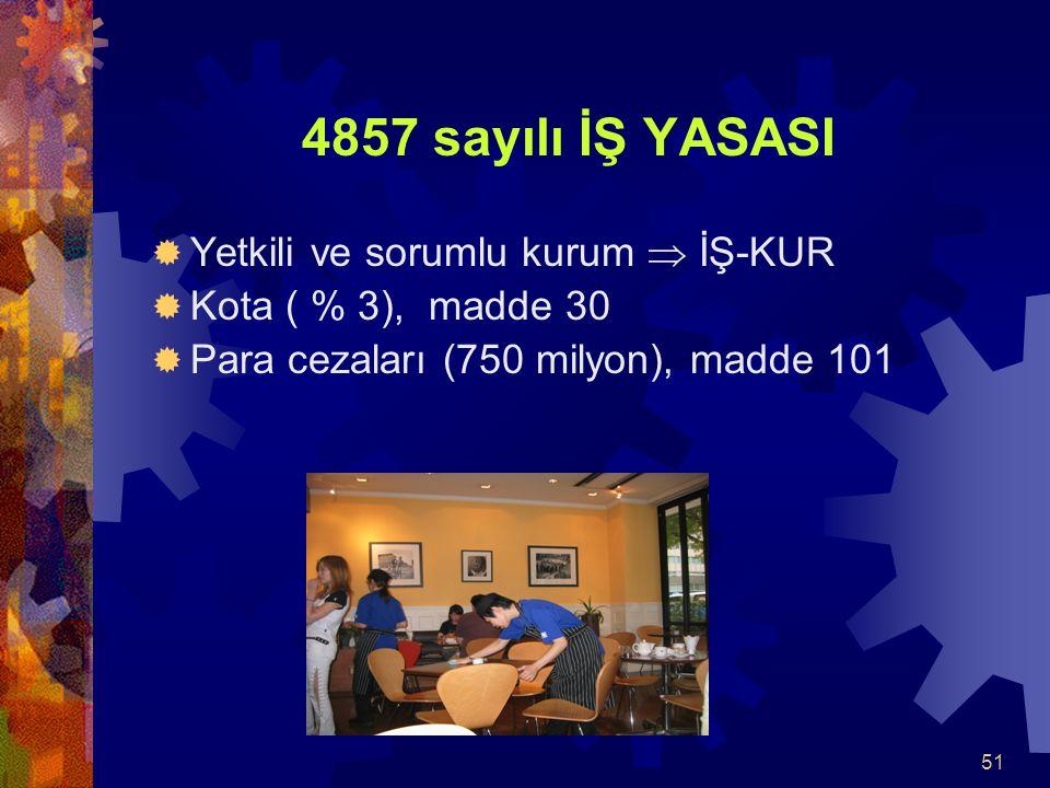 51 4857 sayılı İŞ YASASI  Yetkili ve sorumlu kurum  İŞ-KUR  Kota ( % 3), madde 30  Para cezaları (750 milyon), madde 101