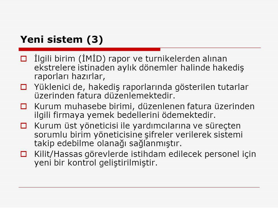 Yeni sistem (3)  İlgili birim (İMİD) rapor ve turnikelerden alınan ekstrelere istinaden aylık dönemler halinde hakediş raporları hazırlar,  Yüklenic