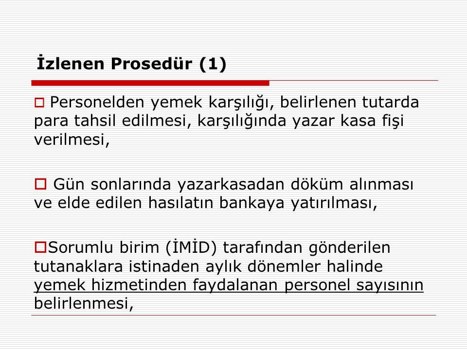 İzlenen Prosedür (1)  Personelden yemek karşılığı, belirlenen tutarda para tahsil edilmesi, karşılığında yazar kasa fişi verilmesi,  Gün sonlarında