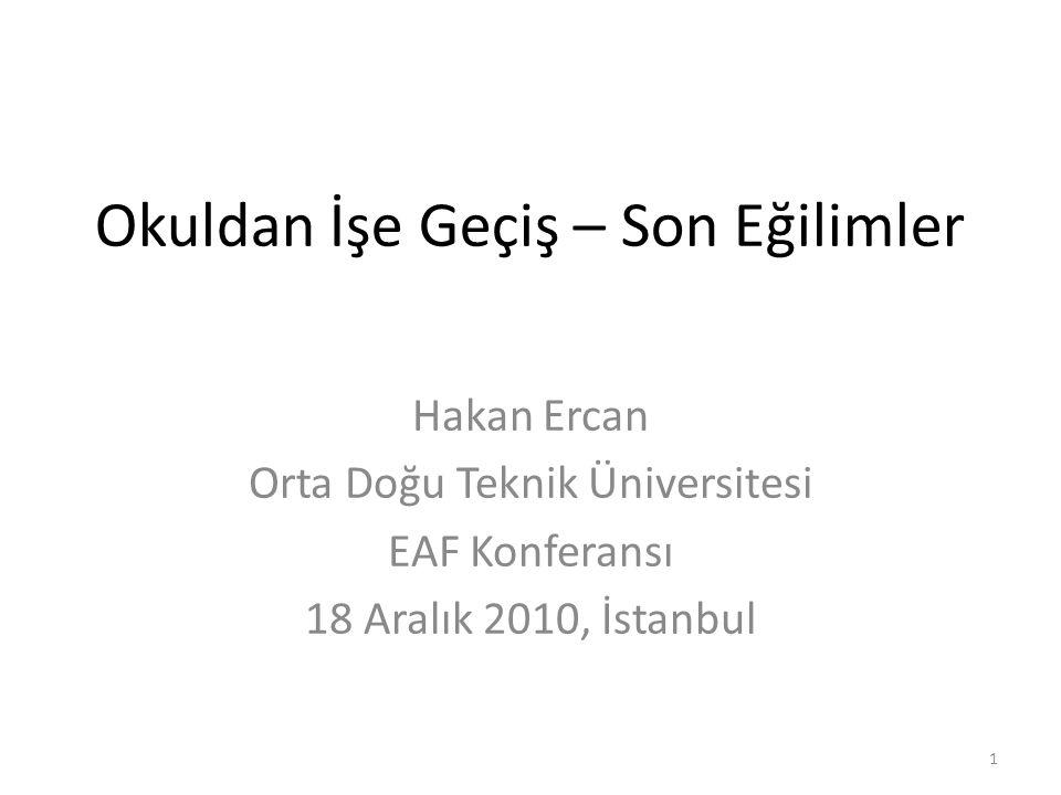 Okuldan İşe Geçiş – Son Eğilimler Hakan Ercan Orta Doğu Teknik Üniversitesi EAF Konferansı 18 Aralık 2010, İstanbul 1
