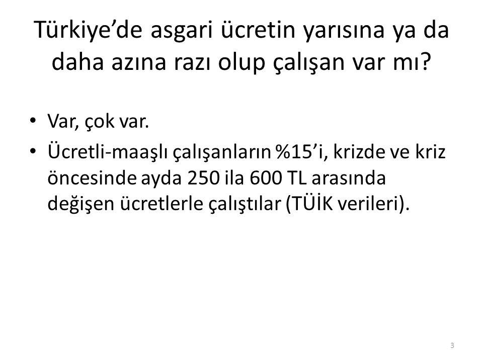 Türkiye'de asgari ücretin yarısına ya da daha azına razı olup çalışan var mı? • Var, çok var. • Ücretli-maaşlı çalışanların %15'i, krizde ve kriz önce