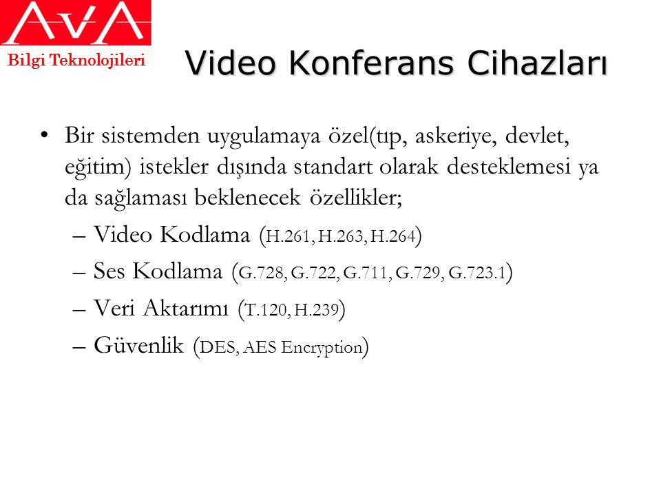 Video Konferans Cihazları •Bir sistemden uygulamaya özel(tıp, askeriye, devlet, eğitim) istekler dışında standart olarak desteklemesi ya da sağlaması