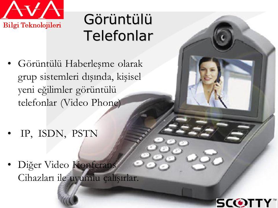 Görüntülü Telefonlar •Görüntülü Haberleşme olarak grup sistemleri dışında, kişisel yeni eğilimler görüntülü telefonlar (Video Phone) • IP, ISDN, PSTN