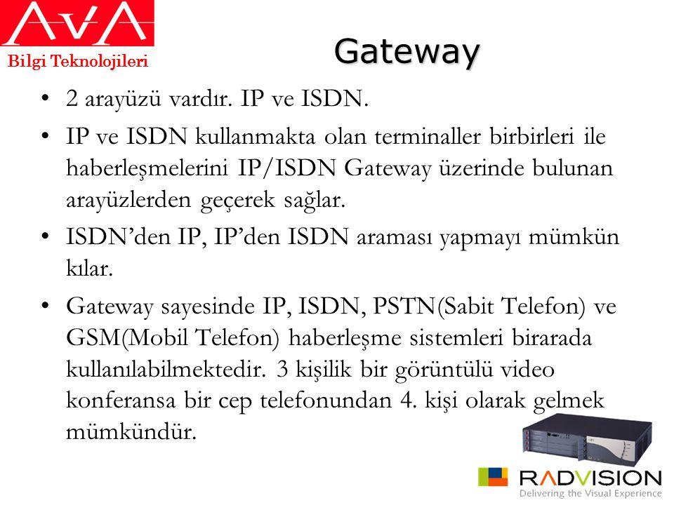 Gateway •2 arayüzü vardır. IP ve ISDN. •IP ve ISDN kullanmakta olan terminaller birbirleri ile haberleşmelerini IP/ISDN Gateway üzerinde bulunan arayü