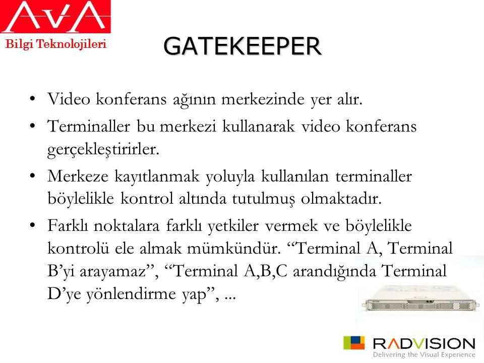GATEKEEPER •Video konferans ağının merkezinde yer alır. •Terminaller bu merkezi kullanarak video konferans gerçekleştirirler. •Merkeze kayıtlanmak yol