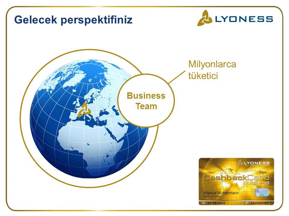 Gelecek perspektifiniz Milyonlarca tüketici Business Team