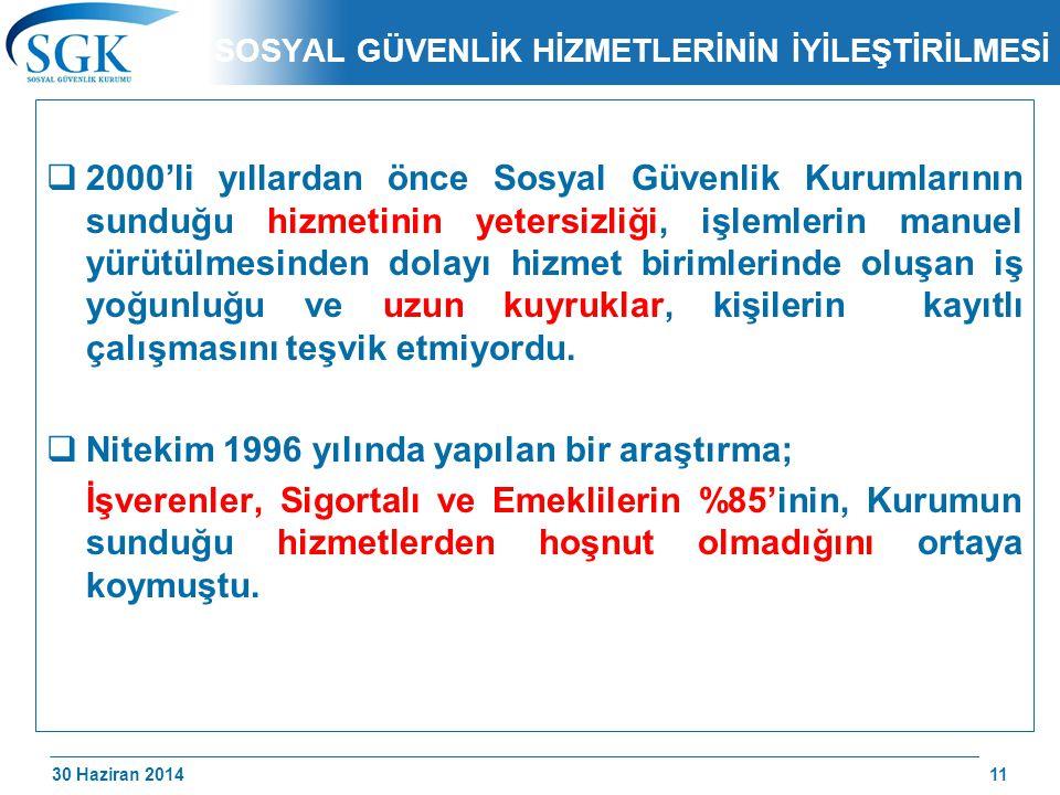 30 Haziran 2014 /174 SOSYAL GÜVENLİK HİZMETLERİNİN İYİLEŞTİRİLMESİ  2000'li yıllardan önce Sosyal Güvenlik Kurumlarının sunduğu hizmetinin yetersizli