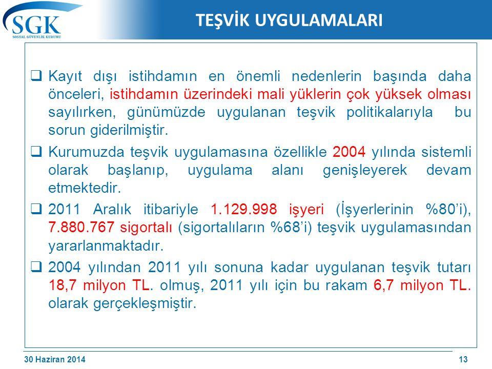 30 Haziran 2014 /174 TEŞVİK UYGULAMALARI  Kayıt dışı istihdamın en önemli nedenlerin başında daha önceleri, istihdamın üzerindeki mali yüklerin çok y