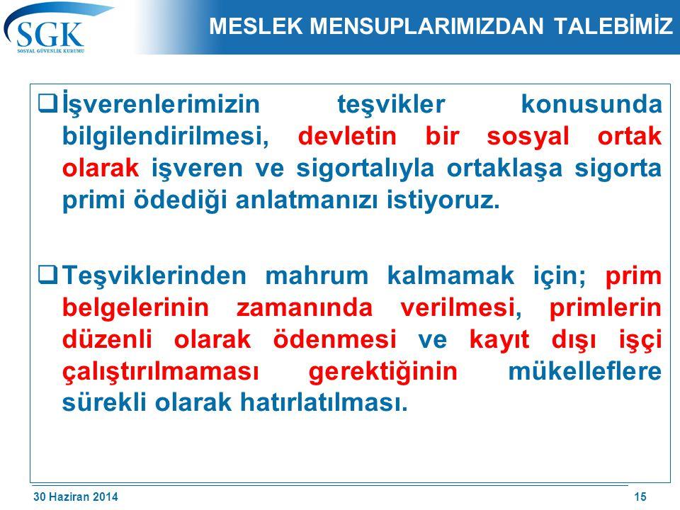 30 Haziran 2014 /174 MESLEK MENSUPLARIMIZDAN TALEBİMİZ  İşverenlerimizin teşvikler konusunda bilgilendirilmesi, devletin bir sosyal ortak olarak işve