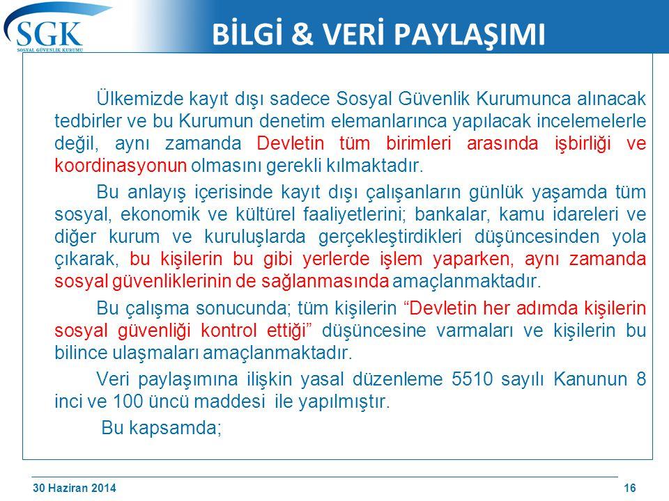 30 Haziran 2014 /174 BİLGİ & VERİ PAYLAŞIMI Ülkemizde kayıt dışı sadece Sosyal Güvenlik Kurumunca alınacak tedbirler ve bu Kurumun denetim elemanların