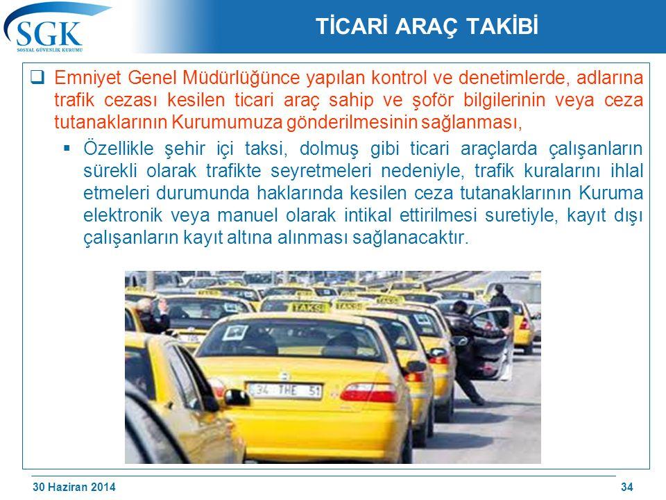 30 Haziran 2014 /174 TİCARİ ARAÇ TAKİBİ  Emniyet Genel Müdürlüğünce yapılan kontrol ve denetimlerde, adlarına trafik cezası kesilen ticari araç sahip
