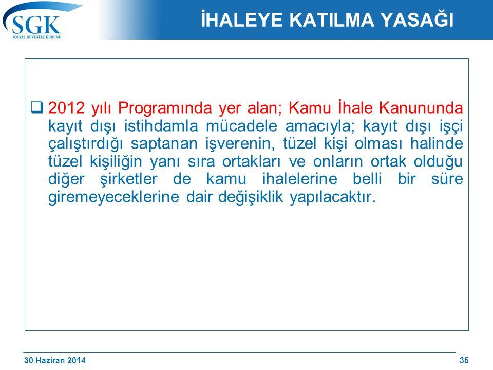 30 Haziran 2014 /174 İHALEYE KATILMA YASAĞI  2012 yılı Programında yer alan; Kamu İhale Kanununda kayıt dışı istihdamla mücadele amacıyla; kayıt dışı