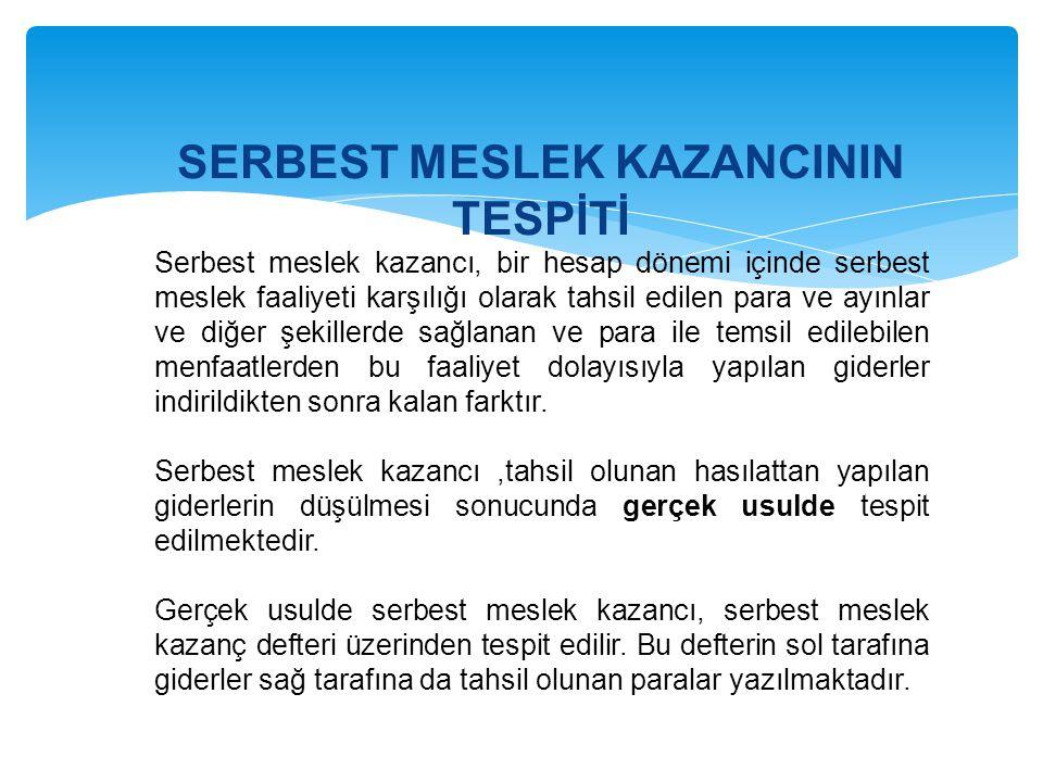 SERBEST MESLEK KAZANCININ TESPİTİ Serbest meslek kazancı, bir hesap dönemi içinde serbest meslek faaliyeti karşılığı olarak tahsil edilen para ve ayın