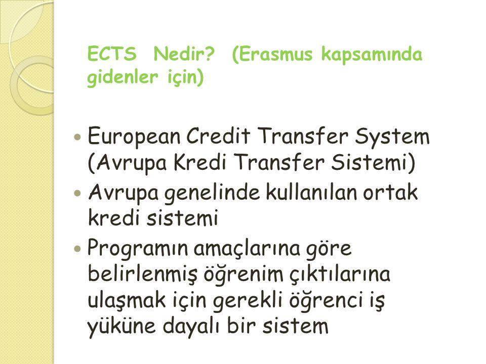  European Credit Transfer System (Avrupa Kredi Transfer Sistemi)  Avrupa genelinde kullanılan ortak kredi sistemi  Programın amaçlarına göre belirl