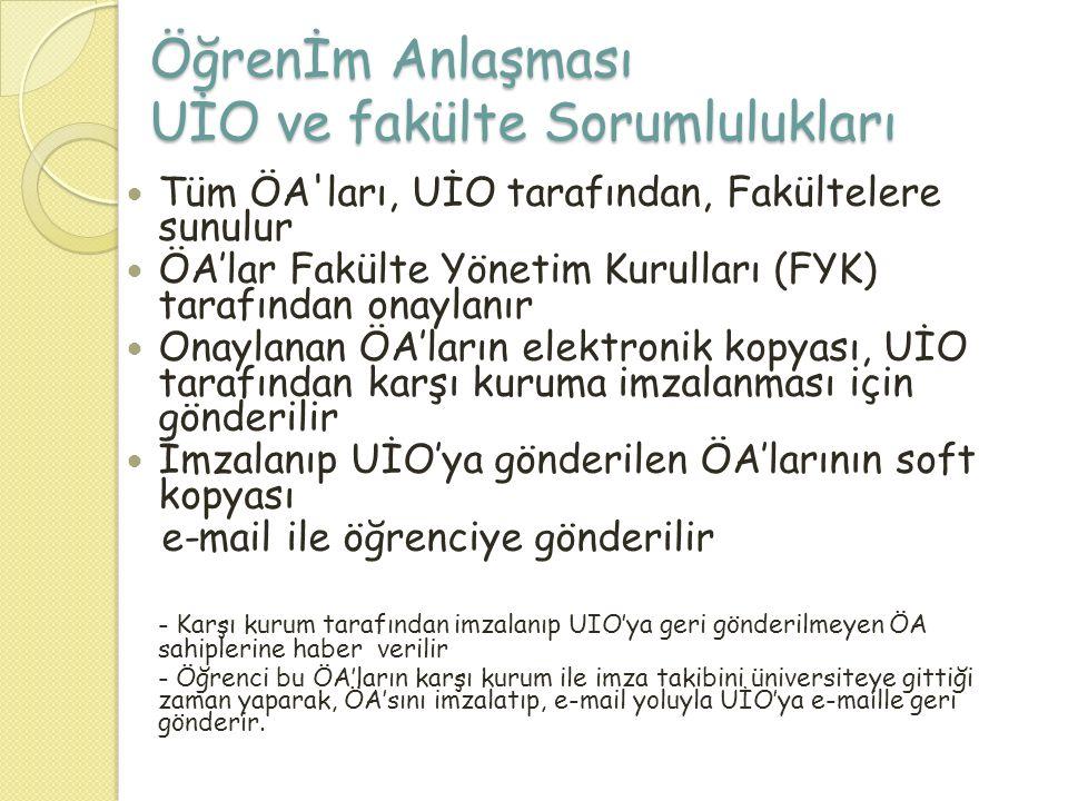 Öğrenİm Anlaşması UİO ve fakülte Sorumlulukları  Tüm ÖA'ları, UİO tarafından, Fakültelere sunulur  ÖA'lar Fakülte Yönetim Kurulları (FYK) tarafından