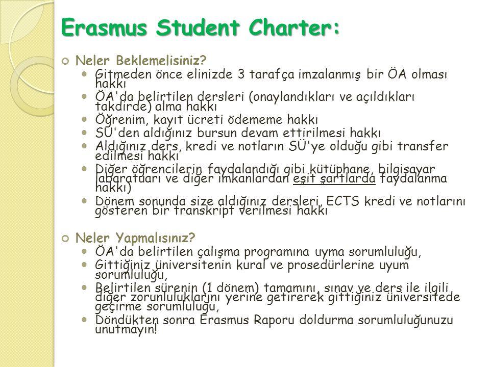Erasmus Student Charter: Neler Beklemelisiniz?  Gitmeden önce elinizde 3 tarafça imzalanmış bir ÖA olması hakkı  ÖA'da belirtilen dersleri (onayland