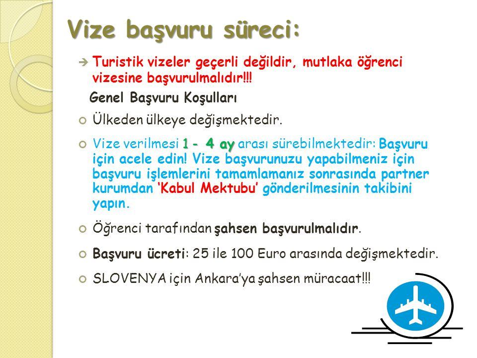 Vize başvuru süreci:  Turistik vizeler geçerli değildir, mutlaka öğrenci vizesine başvurulmalıdır!!! Genel Başvuru Koşulları Ülkeden ülkeye değişmekt