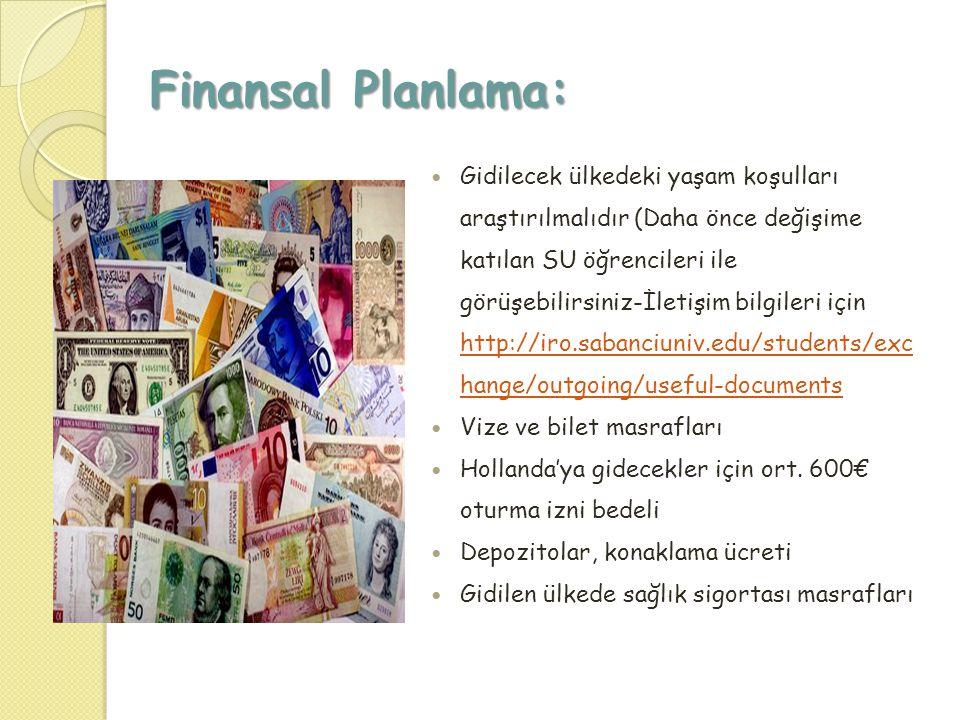 Finansal Planlama:  Gidilecek ülkedeki yaşam koşulları araştırılmalıdır (Daha önce değişime katılan SU öğrencileri ile görüşebilirsiniz-İletişim bilg