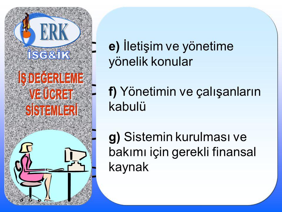 e) İletişim ve yönetime yönelik konular f) Yönetimin ve çalışanların kabulü g) Sistemin kurulması ve bakımı için gerekli finansal kaynak