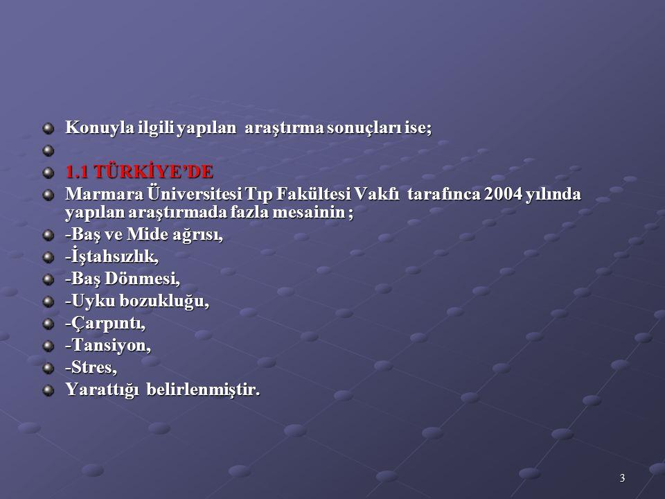 3 Konuyla ilgili yapılan araştırma sonuçları ise; 1.1 TÜRKİYE'DE Marmara Üniversitesi Tıp Fakültesi Vakfı tarafınca 2004 yılında yapılan araştırmada f