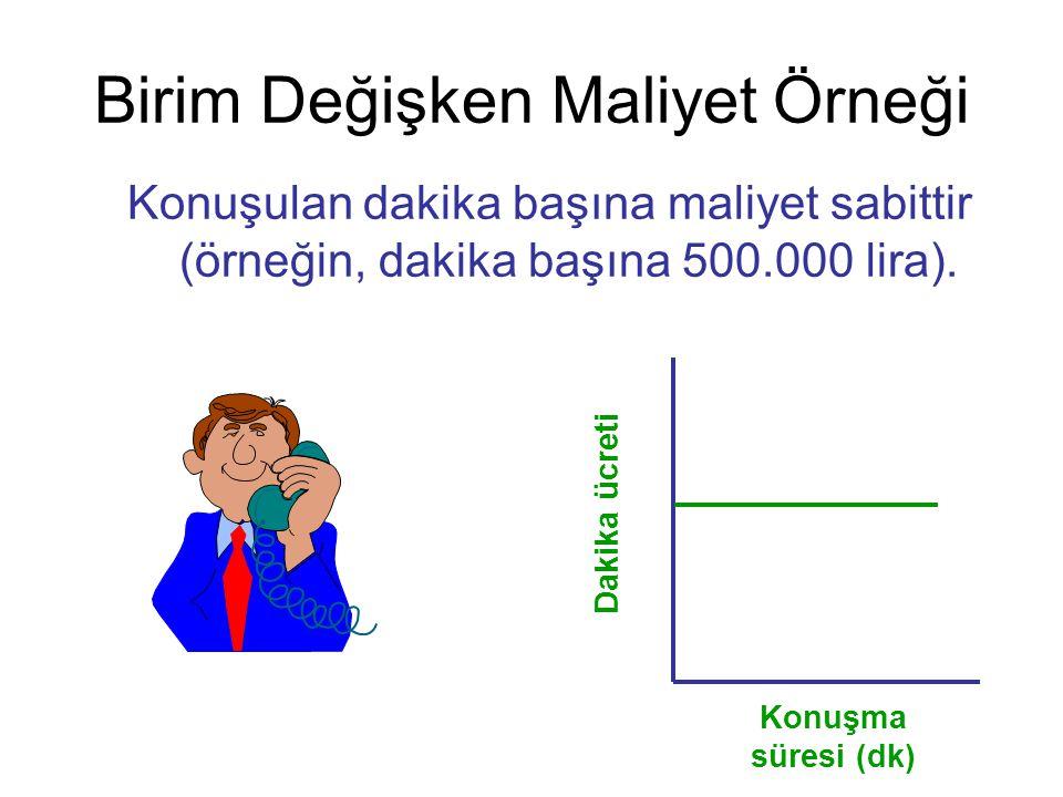 Birim Değişken Maliyet Örneği Konuşma süresi (dk) Dakika ücreti Konuşulan dakika başına maliyet sabittir (örneğin, dakika başına 500.000 lira).