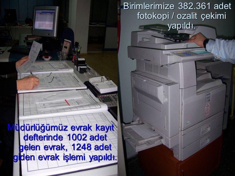 Birimlerimize 382.361 adet fotokopi / ozalit çekimi yapıldı. Müdürlüğümüz evrak kayıt defterinde 1002 adet gelen evrak, 1248 adet giden evrak işlemi y