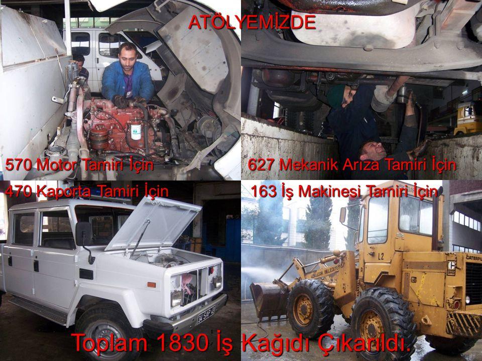 ATÖLYEMİZDE 570 Motor Tamiri İçin 627 Mekanik Arıza Tamiri İçin 163 İş Makinesi Tamiri İçin 470 Kaporta Tamiri İçin Toplam 1830 İş Kağıdı Çıkarıldı.