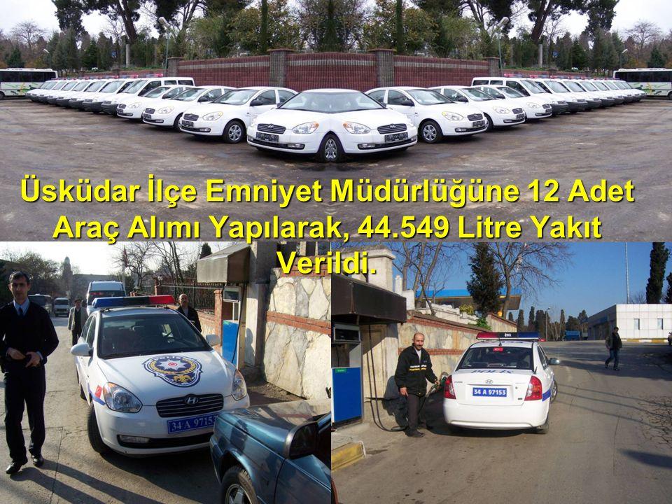 Üsküdar İlçe Emniyet Müdürlüğüne 12 Adet Araç Alımı Yapılarak, 44.549 Litre Yakıt Verildi.