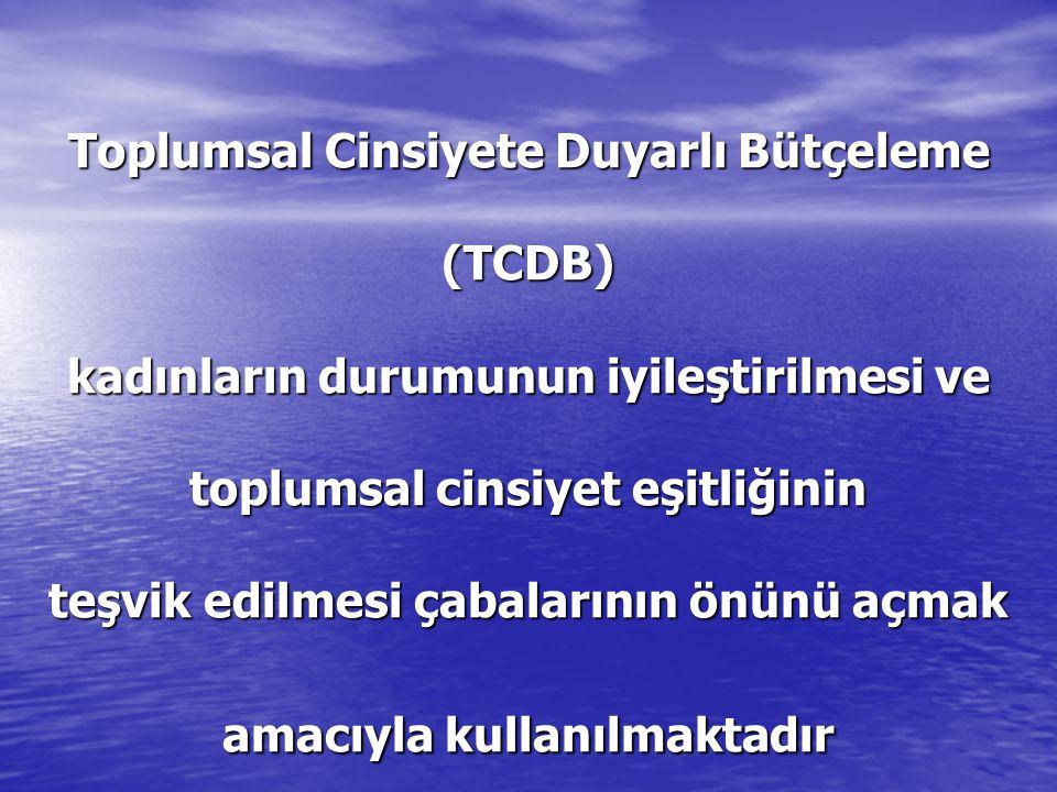 Toplumsal Cinsiyete Duyarlı Bütçeleme (TCDB) kadınların durumunun iyileştirilmesi ve toplumsal cinsiyet eşitliğinin teşvik edilmesi çabalarının önünü