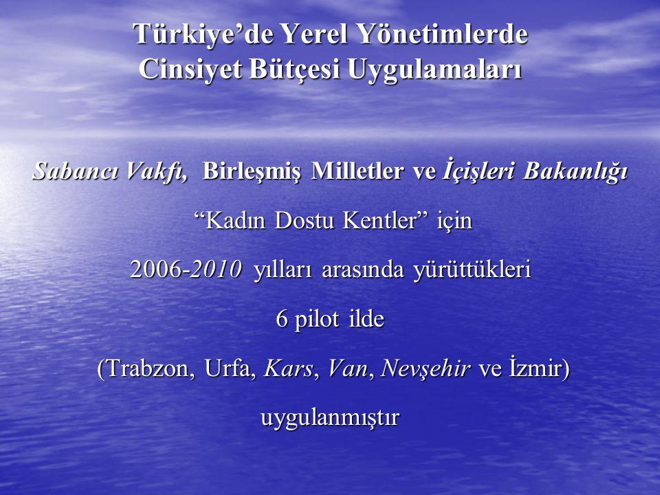 """Türkiye'de Yerel Yönetimlerde Cinsiyet Bütçesi Uygulamaları Sabancı Vakfı, Birleşmiş Milletler ve İçişleri Bakanlığı """"Kadın Dostu Kentler"""" için """"Kadın"""