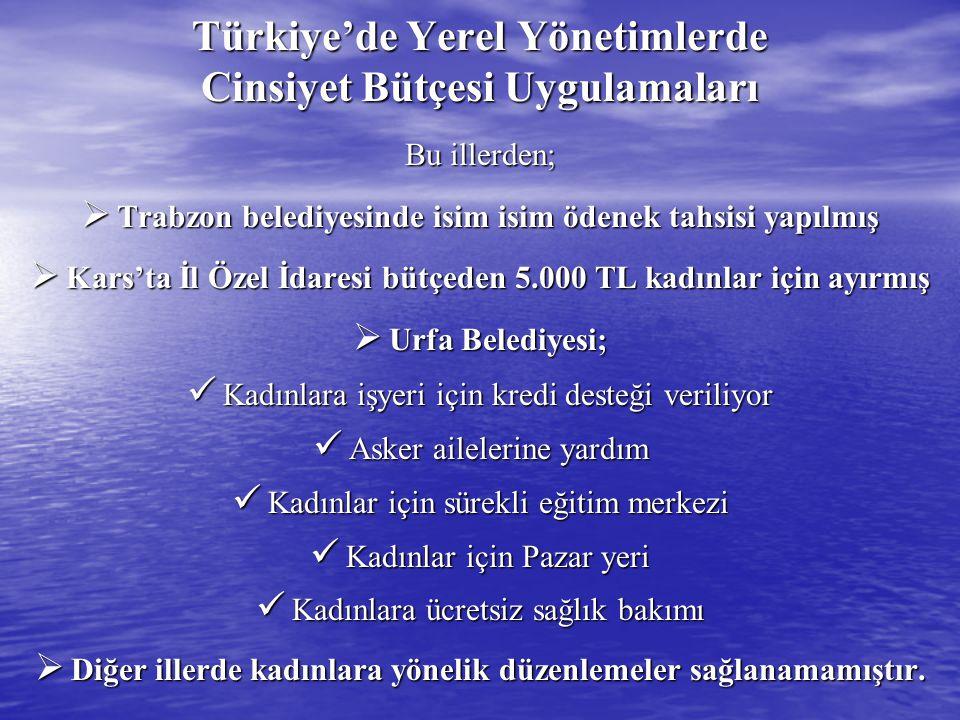 Türkiye'de Yerel Yönetimlerde Cinsiyet Bütçesi Uygulamaları Bu illerden;  Trabzon belediyesinde isim isim ödenek tahsisi yapılmış  Kars'ta İl Özel İ