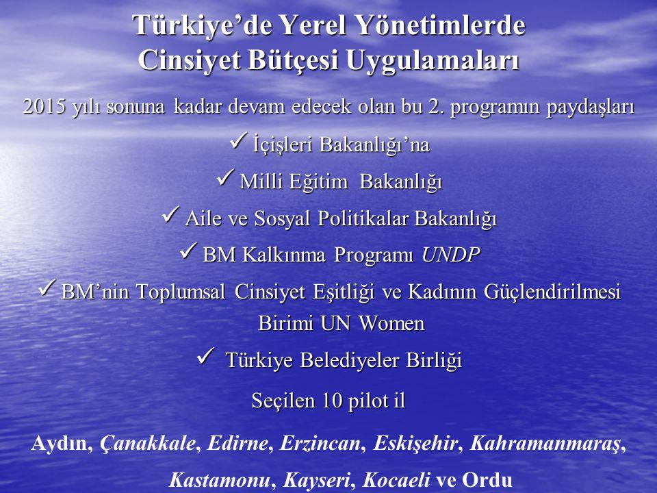 Türkiye'de Yerel Yönetimlerde Cinsiyet Bütçesi Uygulamaları 2015 yılı sonuna kadar devam edecek olan bu 2. programın paydaşları  İçişleri Bakanlığı'n