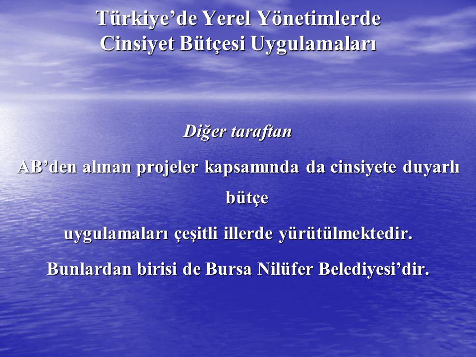 Türkiye'de Yerel Yönetimlerde Cinsiyet Bütçesi Uygulamaları Diğer taraftan AB'den alınan projeler kapsamında da cinsiyete duyarlı bütçe uygulamaları ç