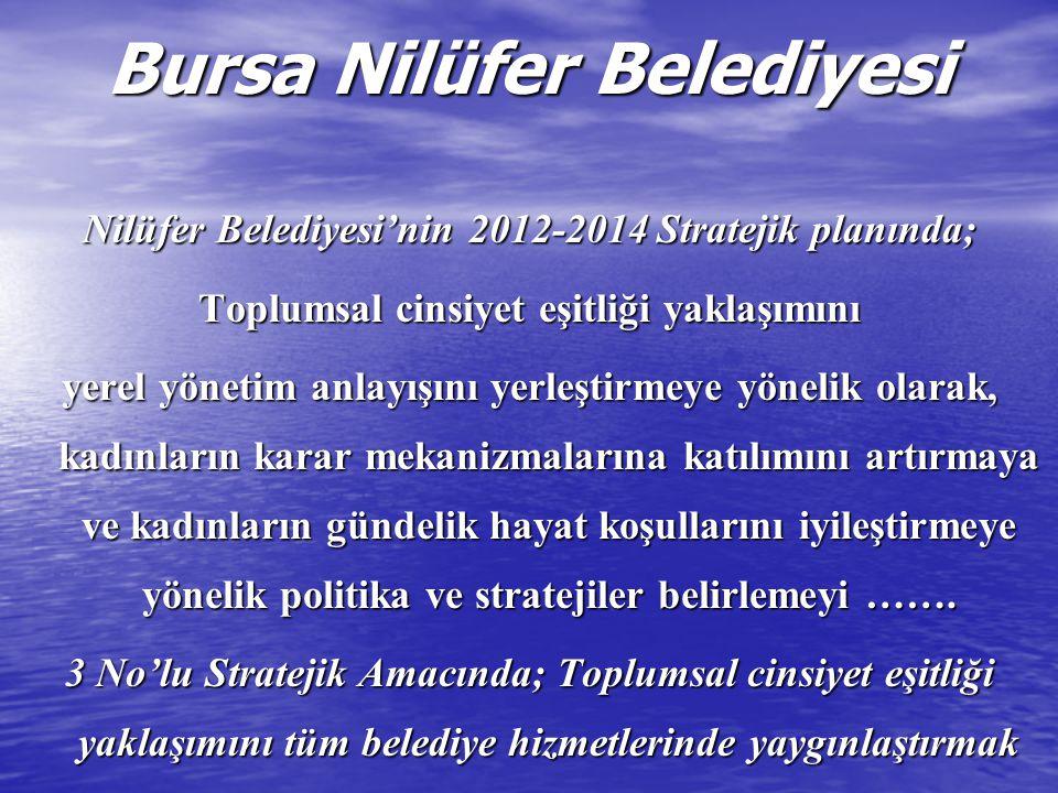 Bursa Nilüfer Belediyesi Nilüfer Belediyesi'nin 2012-2014 Stratejik planında; Toplumsal cinsiyet eşitliği yaklaşımını yerel yönetim anlayışını yerleşt