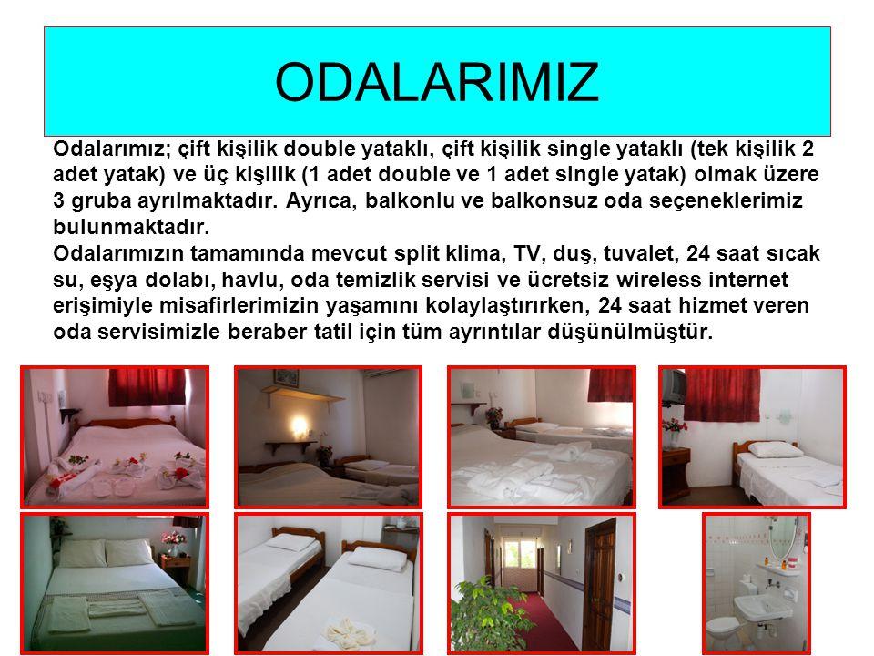 ODALARIMIZ Odalarımız; çift kişilik double yataklı, çift kişilik single yataklı (tek kişilik 2 adet yatak) ve üç kişilik (1 adet double ve 1 adet single yatak) olmak üzere 3 gruba ayrılmaktadır.