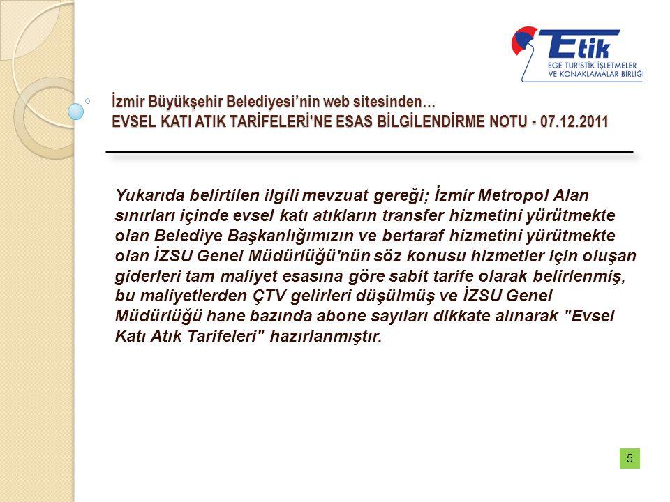 İzmir Büyükşehir Belediyesi'nin web sitesinden… EVSEL KATI ATIK TARİFELERİ'NE ESAS BİLGİLENDİRME NOTU - 07.12.2011 Yukarıda belirtilen ilgili mevzuat