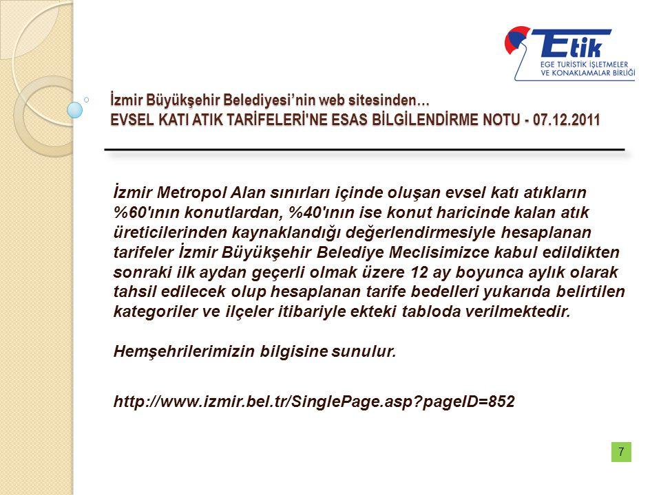 İzmir Büyükşehir Belediyesi'nin web sitesinden… EVSEL KATI ATIK TARİFELERİ'NE ESAS BİLGİLENDİRME NOTU - 07.12.2011 İzmir Metropol Alan sınırları içind