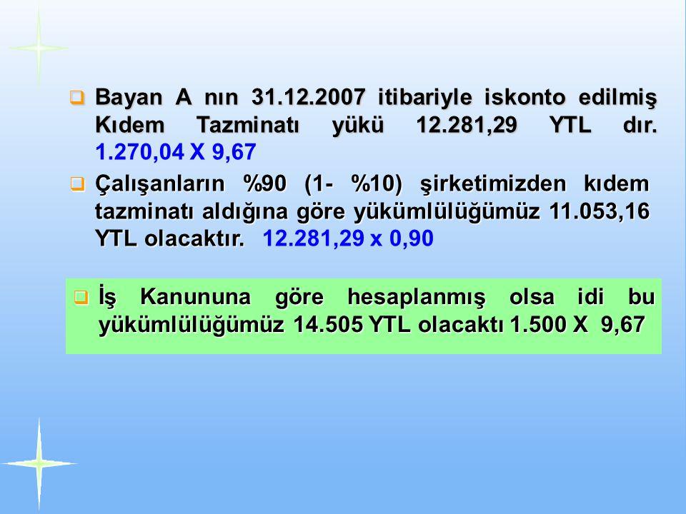  Bayan A nın 31.12.2007 itibariyle iskonto edilmiş Kıdem Tazminatı yükü 12.281,29 YTL dır.  Bayan A nın 31.12.2007 itibariyle iskonto edilmiş Kıdem