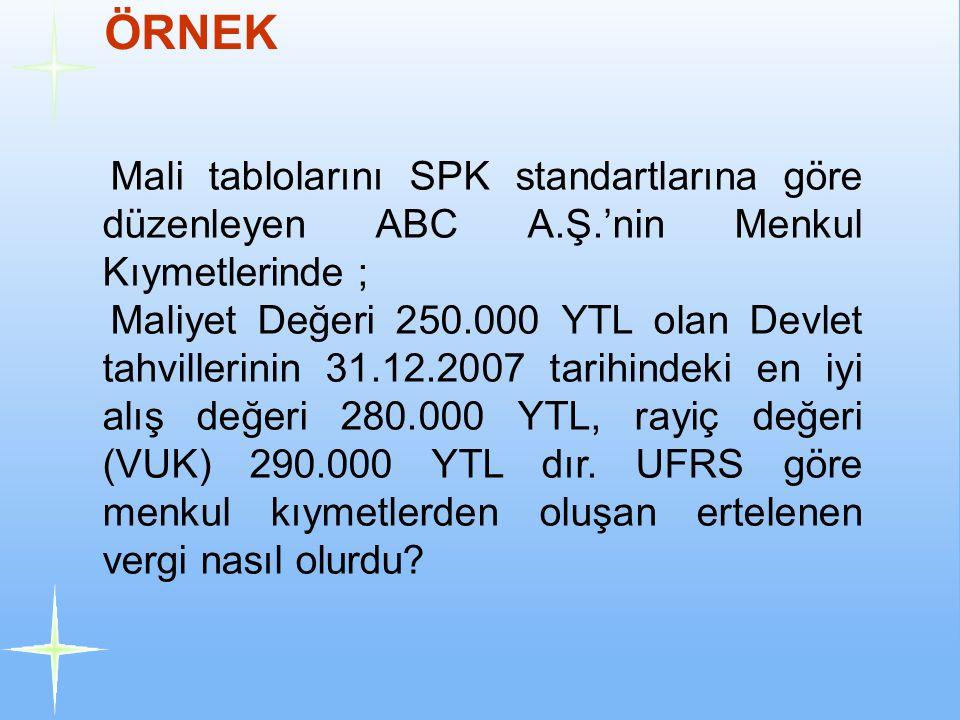 ÖRNEK Mali tablolarını SPK standartlarına göre düzenleyen ABC A.Ş.'nin Menkul Kıymetlerinde ; Maliyet Değeri 250.000 YTL olan Devlet tahvillerinin 31.12.2007 tarihindeki en iyi alış değeri 280.000 YTL, rayiç değeri (VUK) 290.000 YTL dır.