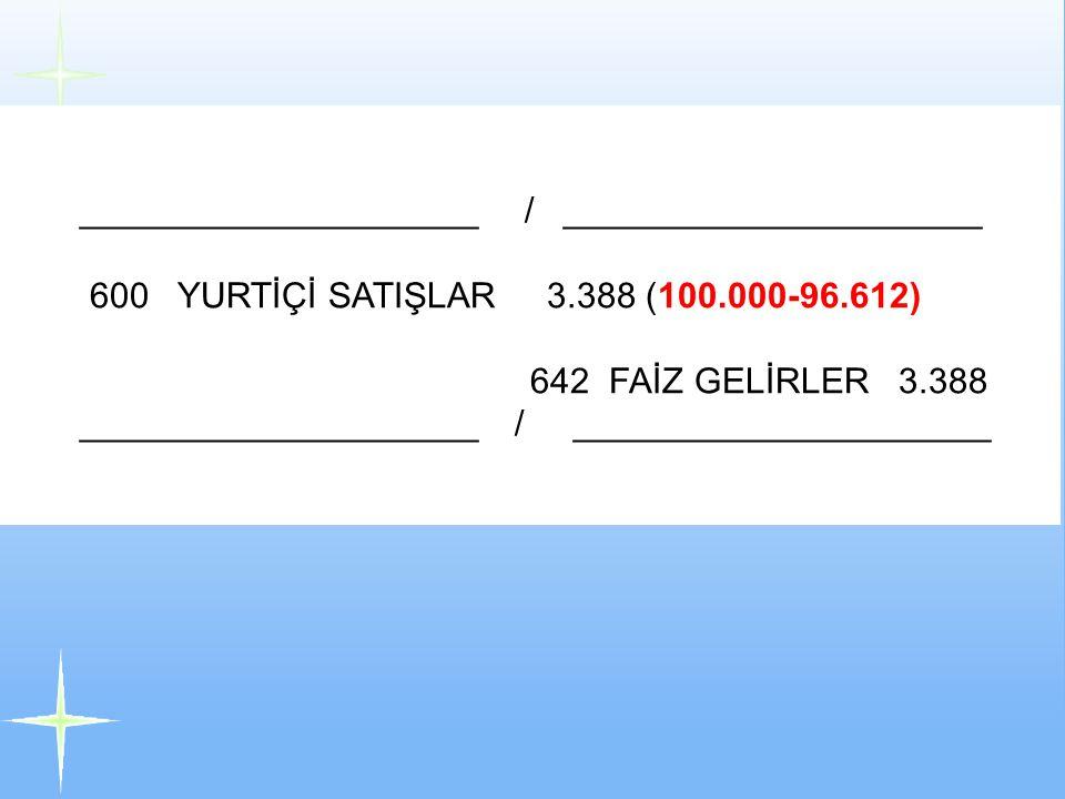 Alacaklar Satış Gelirleri YASALUFRS 0 0 Faiz Gelirleri 100.00096.612 3.388 ____________________ / _____________________ 600 YURTİÇİ SATIŞLAR 3.388 (10